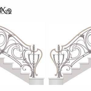 Smeedijzeren trapleuning met trompetbloem en sierlijke startelementen