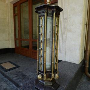 Cast lantern with brass decorative elements N12