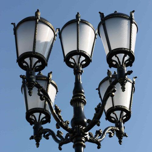 """Lantaarnpaal, straatlantaarn """"Giant""""; 5 lantaarns H570"""
