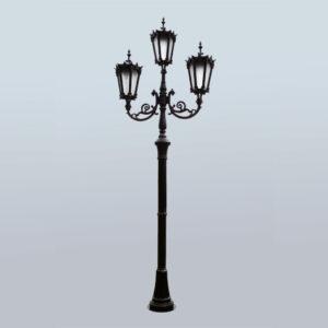 "Lantaarnpaal, straatlantaarn ""Orchidee""; 3 lantaarns H374 – H438"