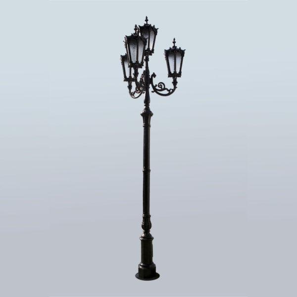 """Lantaarnpaal, straatlantaarn """"Orchidee""""; 4 lantaarns H438"""