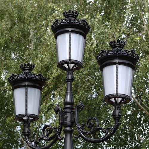 """Lamppost, street lamp """"Paris-Royal""""; 3 lanterns H382 top"""