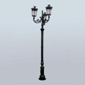 """Lantaarnpaal, straatlantaarn """"Parijse-Royal""""; 3 lantaarns H388"""