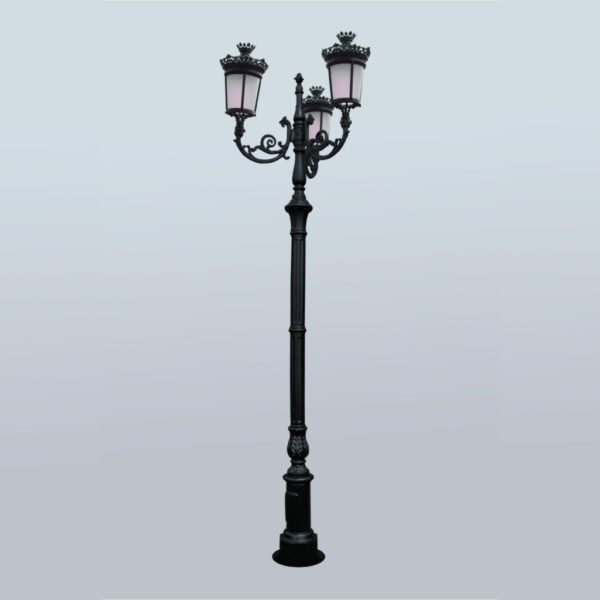 """Lamppost, street lamp """"Paris-Royal""""; 3 lanterns H388"""