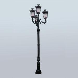"""Lantaarnpaal, straatlantaarn """"Parijse-Royal""""; 4 lantaarns H426"""