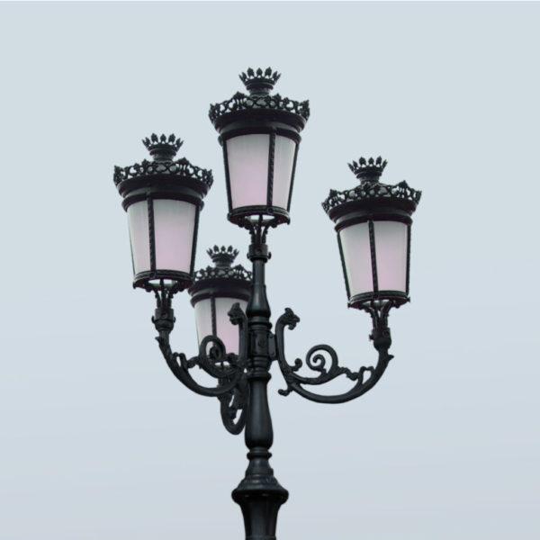 """Lamppost, street lamp """"Paris-Royal""""; 4 lanterns H426 top 2"""