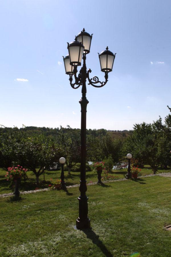 """Lamppost, street lamp """"Tulip""""; 4 lanterns H410 atmosphere"""