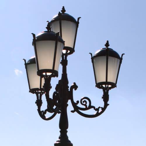 """Lamppost, street lamp """"Tulip""""; 4 lanterns H410 top"""
