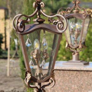 Wrought iron gate lamp Pine cone