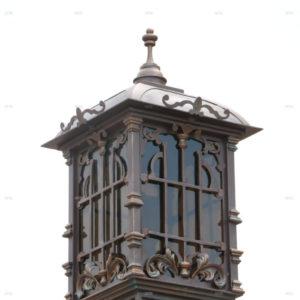 Wrought iron gate lamp square detail