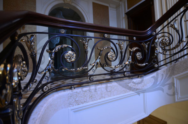 """Wrought iron banister and balustrade """"ClassicWood"""" detail"""