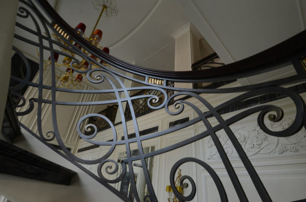 """Wrought iron spiral staircase and balustrade """"Waterfall"""" detail"""