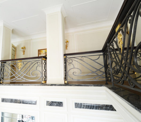 """Wrought iron spiral staircase and balustrade """"Waterfall"""" overview"""