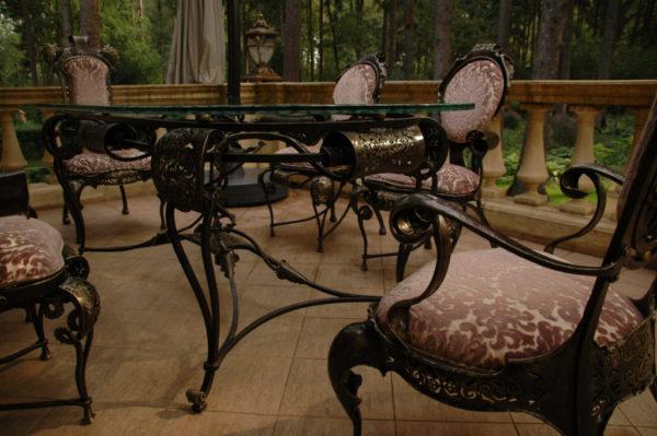 Tuintafel met stoelen Barok