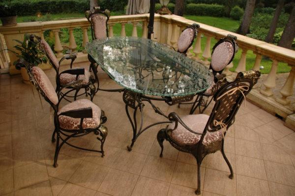 Tuintafel met stoelen Barok bovenaanzicht