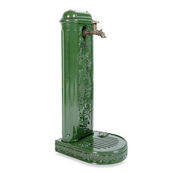 """Water column water column """"Grape"""" with tap and drip tray green side view"""