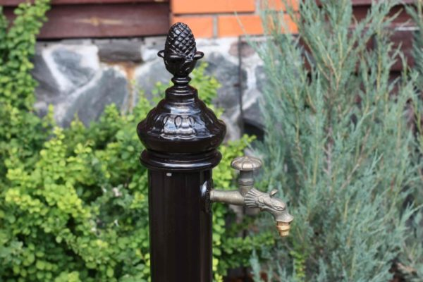 """Water column: water column """"Irna"""" with tap and separate drinking trough"""