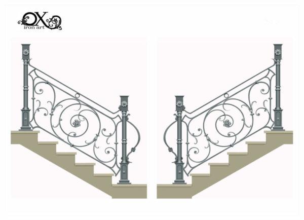 Wrought iron railing 'Flower'